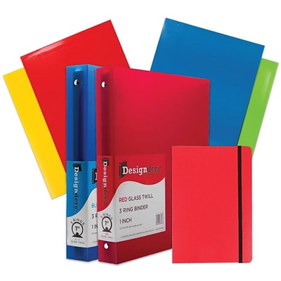 JAM Paper® Back To School Assortments, Classwork Pack, 4 Glossy Folders, 2 1 Binders, 1 Journal, Red, 7/pack (385CW1RASSRT)
