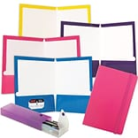 JAM Paper® Back To School Assortments, Pink, 4 Glossy Folders, 1 Pink Journal & 1 Purple Pencil Case
