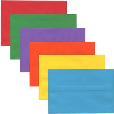 JAM Paper® A8 Colored Invitation Envelopes, 5.5 x 8.125, Assorted Colors, 150/Pack (956A8BROGVY)