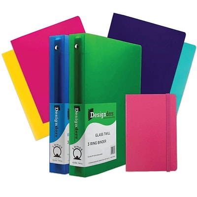 JAM Paper® Back To School Assortments, Pink, 4 Heavy Duty Folders, 2 1.5 Inch Binders & 1 Pink Journal, 7/Pack (CW15PASSRT)
