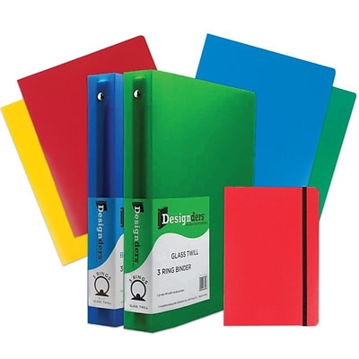 JAM Paper® Back To School Assortments, Red Classwork Pack, 4 Heavy Duty Folders, 2 1.5 Binders, 1 Journal, 7/pack (CW15RASSRT)
