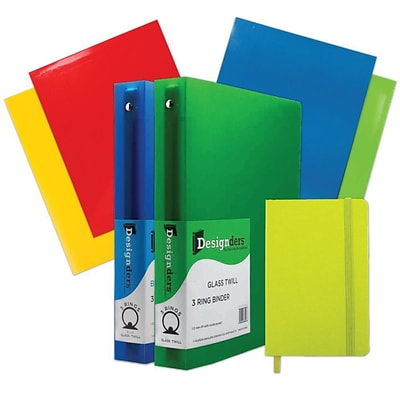 JAM Paper® Back To School Assortments, Green, 4 Glossy Folders, 2 1.5 Inch Binders & 1 Green Journal, 7/Pack (CWG15GASSRT)