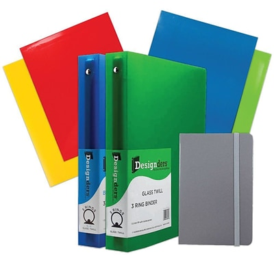 JAM Paper® Back To School Assortments, Grey, 4 Glossy Folders, 2 1.5 Inch Binders & 1 Grey Journal, 7/Pack (CWG15GRASSRT)