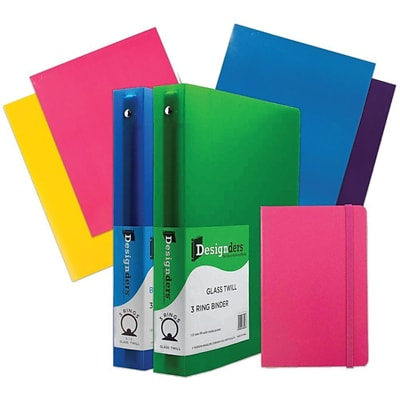 JAM Paper® Back To School Assortments, Classwork Pack, 4 Glossy Folders, 2 1.5 Binders, 1 Journal, Pink, 7/pack (CWG15PASSRT)