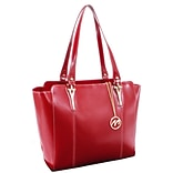 McKlein M Series, ALICIA, Genuine Cowhide Leather, Ladies Tote with Tablet Pocket, Red (97516)