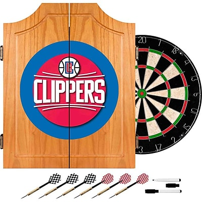 Trademark Global® Solid Pine Dart Cabinet Set, Los Angeles Clippers NBA