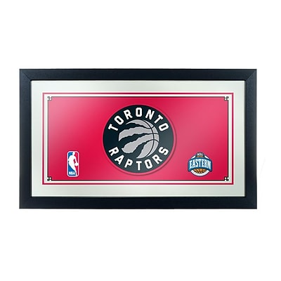 Trademark Global® 15 x 27 Black Wood Framed Mirror, Toronto Raptors NBA