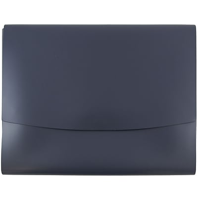 JAM Paper® Italian Leather Portfolio With Snap Closure, 10.5 x 13 x 0.75, Navy Blue, 12/carton (2233320840B)