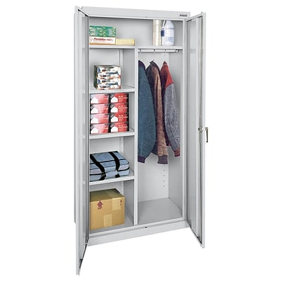 OfficeSource Deluxe Storage Cabinets Series, Combination Wardrobe/Storage, Gray