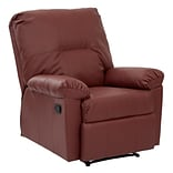 OSP Designs Kensington Metal, Wood, Leather & Foam Recliner, Red