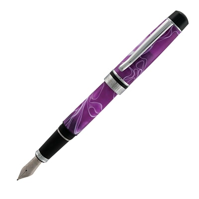 MONTEVERDE PRIMA FOUNTAIN PEN, FINE NIB, PURPLE/WHITE SWIRL (MV26952)
