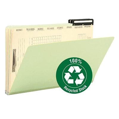 Smead Mortgage File Folders, 8-Sections/1-Fastener, Green, LEGAL-size Holds 8 1/2 x 14, 10/Bx