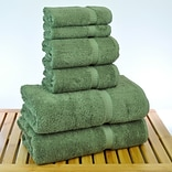 Bare Cotton 6 Piece Turkish Cotton Towel Set; Moss