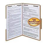 Smead® Reinforced 3-Tab File Folders, 2-Fasteners, Legal, Kraft, 50/Bx (19837)