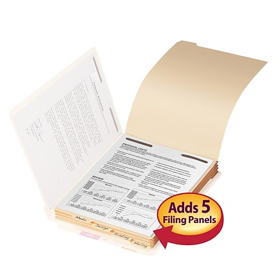 Smead® Folder Dividers with Fastener, Bottom 5-Tab, Letter, Manila, 50/Pk (35600)