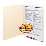 Smead® Shelf-Master Reinforced End-Tab File Folders, 1-Fastener, Letter, Manila, 50/Bx (34110)