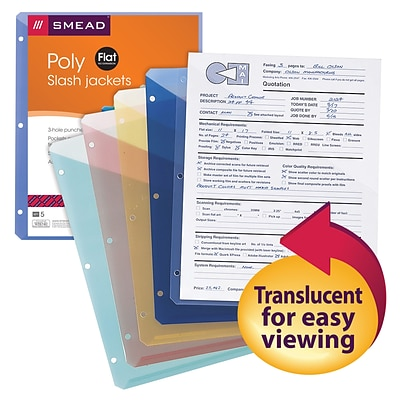 Smead® Poly Translucent Slash File Jacket, Three-Hole Punched, Letter Size, Assorted Colors, 5/Pack (89505)