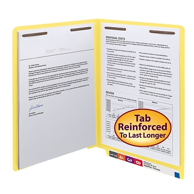 Smead® Shelf-Master Reinforced End-Tab Colored File Folders, 2-Fasteners, Letter, Yellow, 50/Bx (25940)
