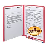Smead® Shelf-Master Reinforced End-Tab Colored File Folders, 2-Fasteners, Letter, Red, 50/Bx (25740)