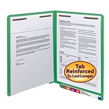 Smead® Shelf-Master Reinforced End-Tab Colored File Folders, 2-Fasteners, Letter, Green, 50/Bx (2514
