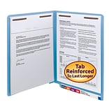 Smead® Shelf-Master Reinforced End-Tab Colored File Folders, 2-Fasteners, Letter, Blue, 50/Bx (25040