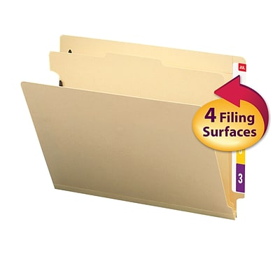 Smead® End Tab Classification File Folder, 1 Divider, 2 Expansion, Letter Size, Manila, 10/Box (26825)