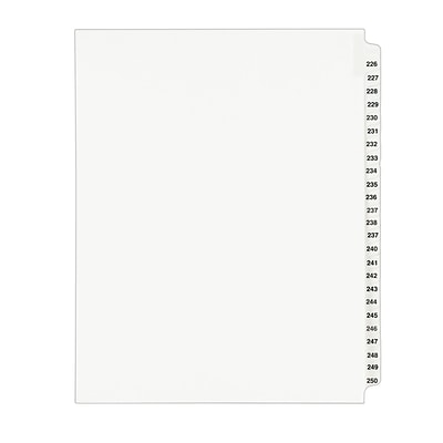 Avery Preprinted Legal Side Tab Dividers, Tab Titles 226-250, White, 8 1/2 x 11