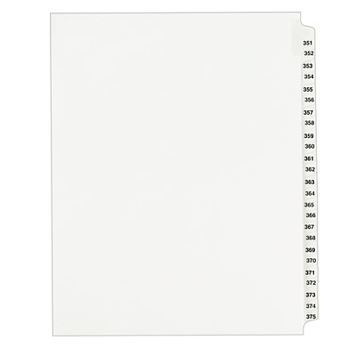 Avery Side Tab Index Dividers, 351-375 Tab, White, 8 1/2 x 11