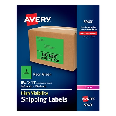 Avery(R) High Visibility Shipping Labels 05940, Neon Green, 8 1/2 x 11, Pack of 100