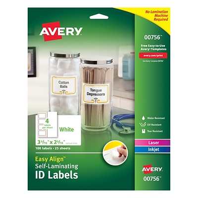 Easy Align™ Self Laminating ID Labels, 00756, 3 5/16 x 2 5/16, Pack of 100 (00756)