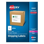 Avery Laser Printer White Shipping Labels - 8.50x11 - 250bx - Rectangle - 1 Sheet - Laser, Inkjet