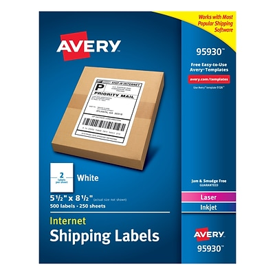 Avery Laser Printer White Shipping Labels; 5.5 x 8.5, Rectangle, Laser/Inkjet, 2 per Sheet, 500/Bx