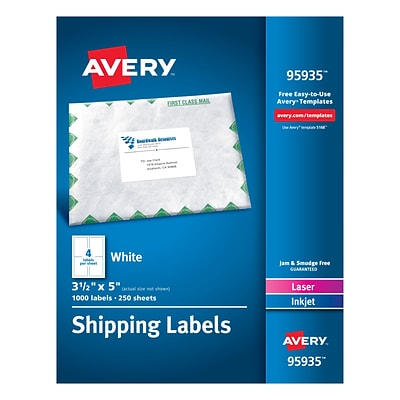 Avery Laser Printer White Shipping Labels - 3.50x5 - 1000bx - Rectangle - 4 Sheet - Laser, Inkjet