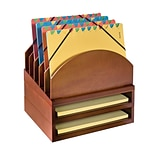 Wood Dsk Orgnz Step Up File & 2 Tray, Chry