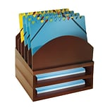 Wood Dsk Orgnz Step Up File & 2 Tray, Mahog