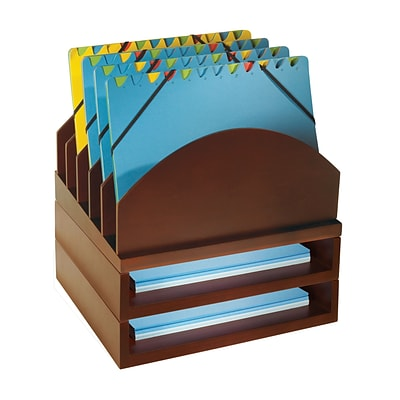 Bindertek Stacking Wood Desk Step Up File & Stackable 2 Tray Kit, Mahogany (WK2-MA)