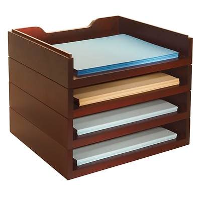 Bindertek Stacking Wood Desk Stackable, 4 Letter Paper Tray Kit, Mahogany (WK6-MA)