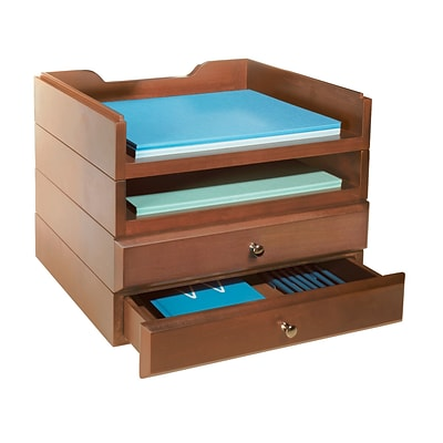 Bindertek Stackable Wood Desk Organizers, 2 Tray & 2 Drawer Kit, Cherry (WK8-CH)