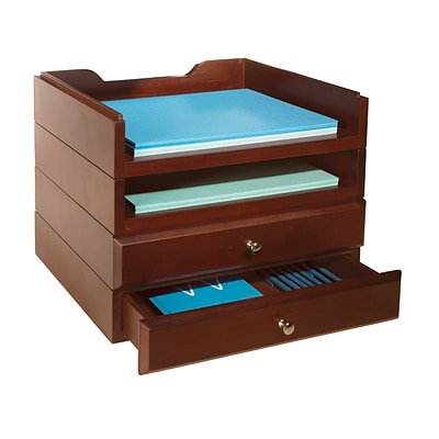 Bindertek Stackable Wood Desk Stackable 2 letter Tray & 2 Drawer Kit, Mahogany (WK8-MA)