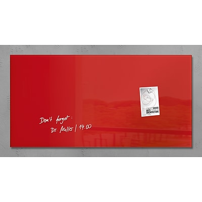 Sigel 36 x 18 Contemporary Magnetic Glass Board, Red (SGBOARD36-RD)