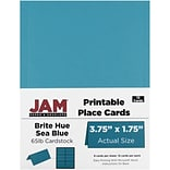 JAM Paper® Printable Place Cards, 1.75 x 3.75, Brite Hue Sea Blue Placecards, 12/pack (225928557)