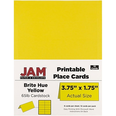 JAM Paper® Printable Place Cards, 1.75 x 3.75, Brite Hue Yellow Placecards, 12/pack (225928558)