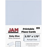 JAM Paper® Printable Place Cards, 1.75 x 3.75, Baby Blue Placecards, 12/pack (225928568)
