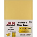 JAM Paper® Printable Place Cards, 1.75 x 3.75, Stardream Metallic Gold Placecards, 12/pack (22592857