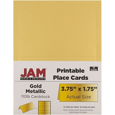 JAM Paper® Printable Place Cards, 1.75 x 3.75, Stardream Metallic Gold Placecards, 12/pack (225928571)