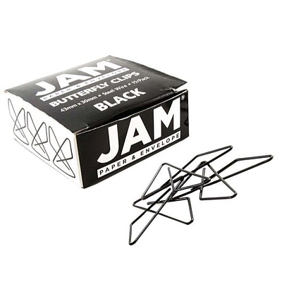 JAM Paper® Butterfly Paper Clips, Black Paperclips, 15/pack (332BYBL)
