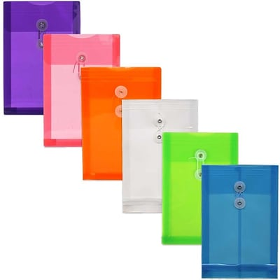 JAM Paper® Plastic Envelopes with Button and String Tie Closure, Open End, 6.25x9.25, Assorted Poly Colors, 6/pack (472B1ASSRTD)
