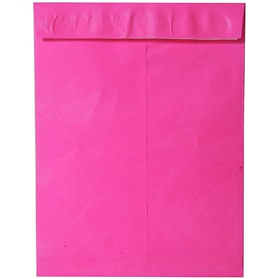 JAM Paper® 10 x 13 Tyvek Envelopes, Catalog Open End with Self Adhesive Closure, Hot Pink, 10/pack (V021380B)