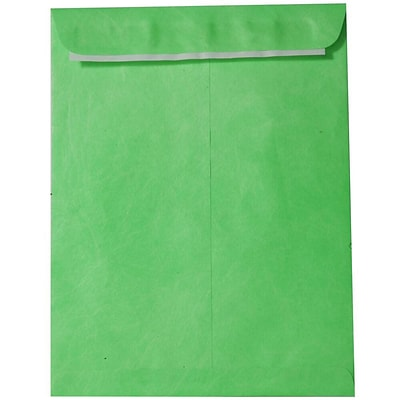 JAM Paper® 10 x 13 Tyvek Envelopes, Catalog Open End with Self Adhesive Closure, Lime Green, 10/pack (V021381B)