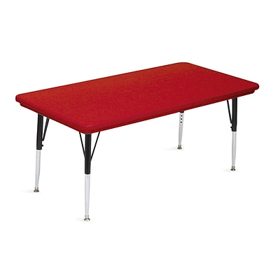 Correll® 30D x 60L Rectangular Heavy Duty Plastic Activity Table; Red Top